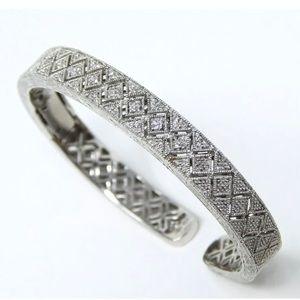 Jewelry - Genuine .58ctw Micropave hinge Cuff 925 Bracelet